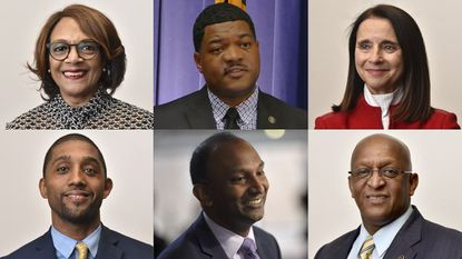 Baltimore 2020 mayor candidates, (top, left to right) Sheila Dixon, T.J. Smith, Mary Miller, (bottom, left to right) Brandon Scott, Thiru Vignarajah and Jack Young.