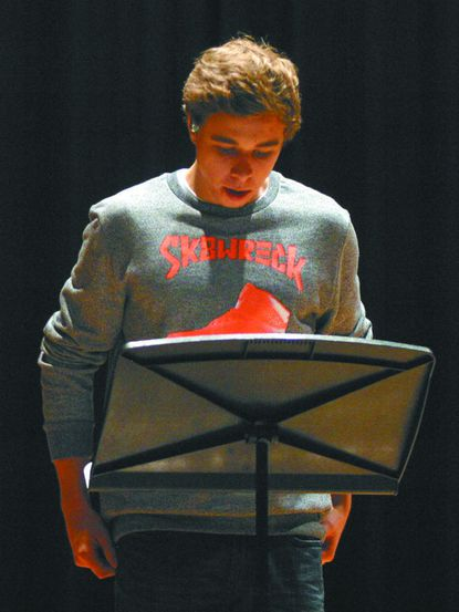 North Carroll High School senior and National Honor Society President Josh Resh practices selected readings from presidential speeches on Oct. 31, in preparation for the school's Veterans Day assembly.