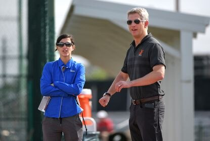 Eve Rosenbaum, director of baseball development for the Orioles, talks with general manager Mike Elias at the Orioles Spring Training complex. February 14, 2020