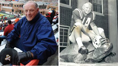 Former Terps quarterback Dick Shiner is seen on the left at a Maryland football game on Nov. 23. The photo on the right is Shiner in 1962.