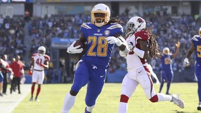 Chargers running back Melvin Gordon (28) scores against the Arizona Cardinals in Nov. 25.