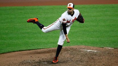 Orioles starter Gabriel Ynoa pitches against the Tampa Bay Rays during a game at Camden Yards on Thursday, Sept. 21, 2017.