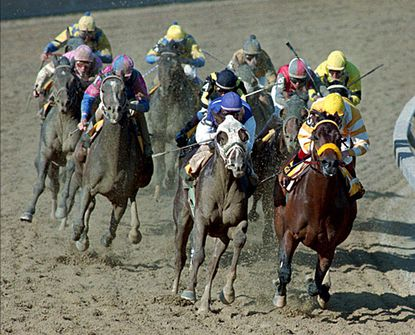 Tabasco Cat with jockey Pat Day onboard (center), and Go for Gin with jockey Chris McCarron onboard round the fourth turn ahead of the pack in 119th Preakness Stakes Saturday, May 21, 1994, at Baltimore's Pimlico Race Course. Tabasco Cat won the race and Go for Gin came in second.