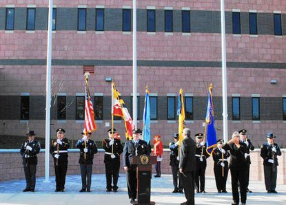 Per capita borrowing by Harford County government has more than doubled in the past decade. Above, the color guard stands at attention during the November dedication of the county's new Department of Emergency Services building in Hickory.