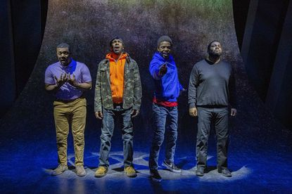 "The cast of Rep Stage's production of ""Kill Move Paradise"": Dylan J. Fleming, Jonathan Del Palmer, Christian R. Gibbs and Tendo Nsubuga."