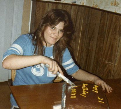 In this photos from www.leannfaulk.com, Leann Faulk cuts into her 21st birthday cake. She was reported missing Nov. 16, 1985, weeks before her 22nd birthday.