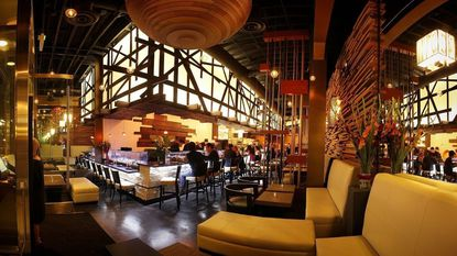 The elegant dining room at Full Moon Sushi & Kitchen Bar in downtown San Diego.