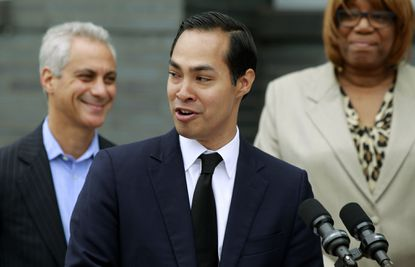 Housing and Urban Development Secretary Julian Castro announces a policy change at a news conference inChicago July 8. The new rules provide guidance to help cities achieve the promises of the 1968 Fair Housing Act by promoting racially integrated neighborhoods.