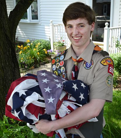 Jack Callahan, 17, of Catonsville, is a Boy Scout who is collecting tattered flags for a retirement ceremony to earn an Eagle Scout rank.