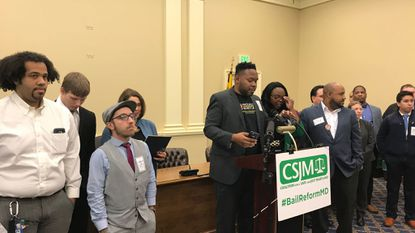 Larry Stafford of Progressive Maryland speaks at press conference of criminal justice reform advocates in Annapolis.