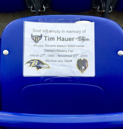 The family of Tim Hauer left a seat empty at the Nov. 22 Ravens game, one year after his death.