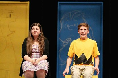 """Katie Waddel, left, plays Lucy and Nick Haley, right, plays Charlie Brown during a recent rehearsal of """"You're a Good Man Charlie Brown"""" at Glenelg High School."""