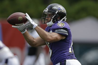 Baltimore Ravens' Michael Campanaro catches a pass during NFL football training camp Thursday in Philadelphia.