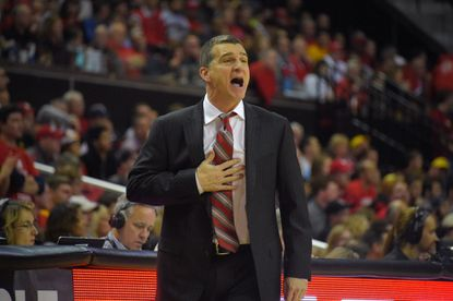 Maryland head coach Mark Turgeon during the second half in College Park. Maryland played from behind for most of the game before catching fire in the final minutes to hold off the Nittany Lions, 70-64.