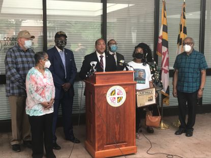 Baltimore County councilman Julian Jones announces in June legislation to ban the use of choke holds and other police reforms.