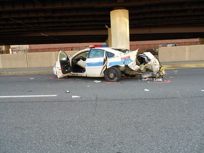 Baltimore Police car involved in accident in Mount Vernon