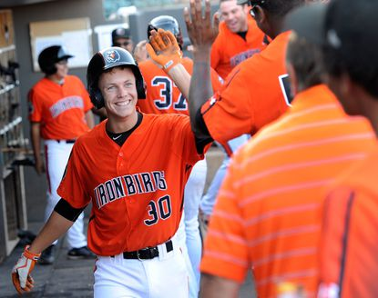 The Aberdeen IronBirds' Ryan Mountcastle smiles after hitting a two-run home run against the Brooklyn Cyclones in the second inning of a New York-Penn League baseball game at Ripken Stadium in Aberdeen Sunday, Aug. 23, 2015. It was Mountcastle's first at-bat with the team. (Photo by Steve Ruark)