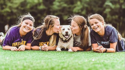 Georgia, Lucy, Jamie and Maggie Schneidereith (from left to right) are juniors playing for three NCAA Division I women's lacrosse programs. When they return to home to Lutherville, they can usually be found playing with their 8-year-old yellow Labrador named Charlie (middle).