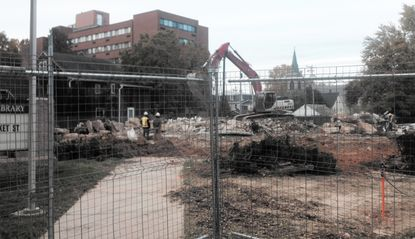 Demolition of the Havre de Grace Library building was completed late last week. Crews were clearing the site Monday and preparation for construction of a new, larger library.