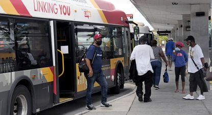 The Maryland Transit Administration could miss out on a second round of federal emergency funding in a bill put forward in the House of Representatives, known as the HEROES Act, which would provide a combined $15.75 billion to transit agencies across the U.S. Passengers are shown Friday at the Mondawmin Metro Station.