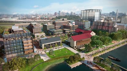 A rendering of the first phase of development at Port Covington, which includes apartments, a market and offices near the Sagamore Spirit distillery. - Original Credit: Weller Development (Handout)