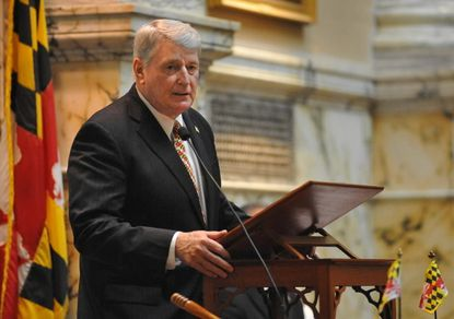 """House Speaker Michael E. Busch told environmental activists he would resist repeal of storm-water pollution fees critics - including Gov. Larry Hogan - have scorned as a """"rain tax."""""""