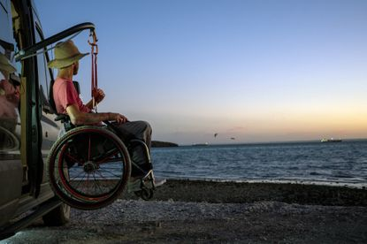 A photo provided by Kirk Williams shows him in Baja California, Mexico. A biking accident left Williams paralyzed, but he has traveled widely and inspired others to follow in his tire tracks.