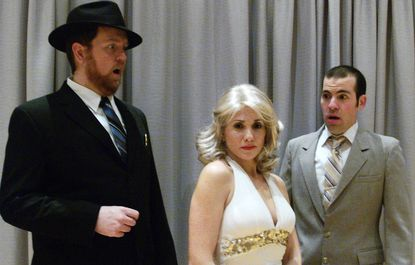 "From left, Ryan Geiger (Max,) Rachel Weir (Ulla), and Brian Sackett {Leo) in a scene from ""The Producers"" at Silhouette Stages."