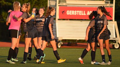 Gerstell players celebrate their 1-0 win over Liberty during a girls soccer game at Gerstell Academy on Sept. 4, 2018.