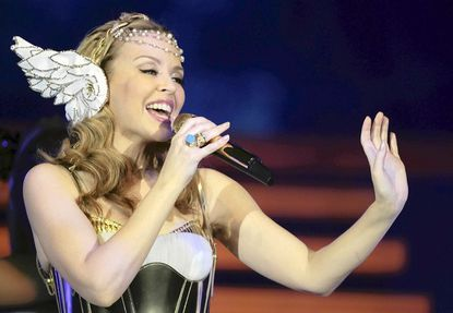 Kylie Minogue performs at the Cardiff International Arena in March in Cardiff, Wales.
