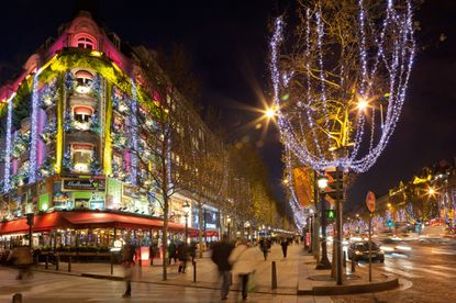 Christmas lights along the Champs-Elysees in Paris.