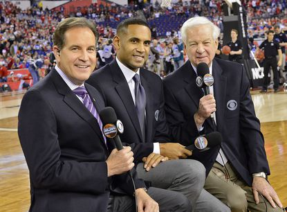 Jim Nantz (left) lead NCAA play-by-play announcer for CBS, with Grant Hill and Bill Raftery, lead NCAA analysts.