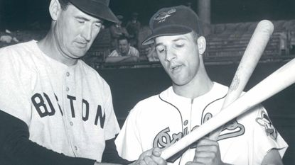 Boston Red Sox slugger Ted Williams and Orioles outfielder Tito Francona in August 1957. Francona tied for second in the 1956 American League Rookie of the Year voting and played in the majors until 1970.