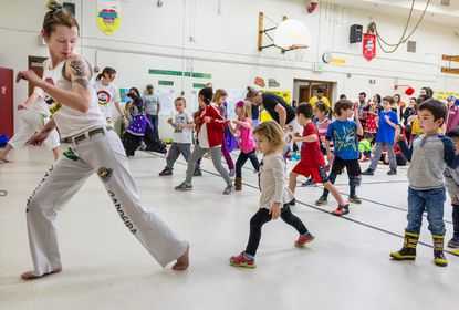 Students and families sampled learning some Brazilian Martial Arts at last year's International Festival at Stoneleigh Elementary.