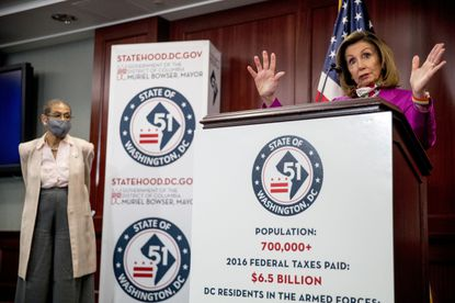 House Speaker Nancy Pelosi, accompanied by D.C. Delegate Eleanor Holmes Norton, speaks at a news conference on District of Columbia statehood on Capitol Hill, Tuesday, June 16, 2020, in Washington.