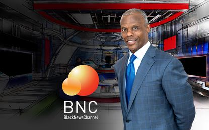 J.C. Watts, Jr. against an artist's rendering of the newsroom of the 24/7 Black News Channel, which he will launch Nov. 15.