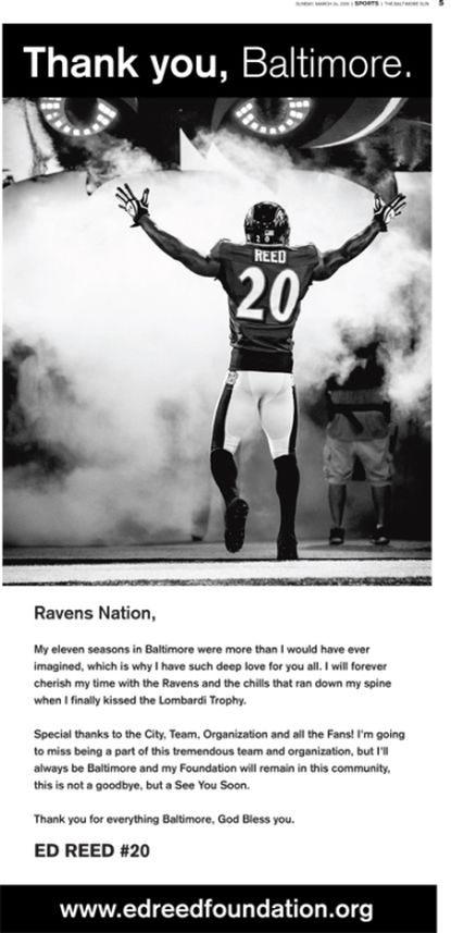 Ed Reed's advertisement