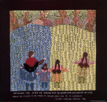 """""""We Fled Across the Fields, No. 16"""" by Esther Krinitz is part of AVAM's <a href=""""http://findlocal.baltimoresun.com/listings/the-art-of-storytelling-lies-enchantment-humor-and-truth-baltimore"""">""""The Art of Storytelling"""" exhibit</a>, which runs Oct. 6 though Sept. 1, 2013."""