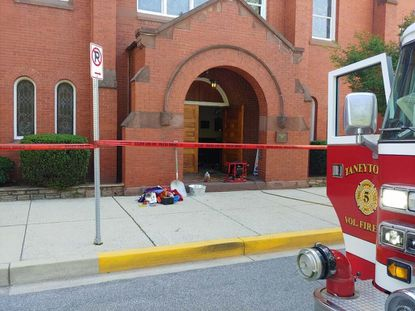 Firefighters put out a small fire inside Taneytown Lutheran Church on Friday, but no injuries were reported. A Taneytown Volunteer Fire Company spokesperson said arson was suspected and a person had been arrested.
