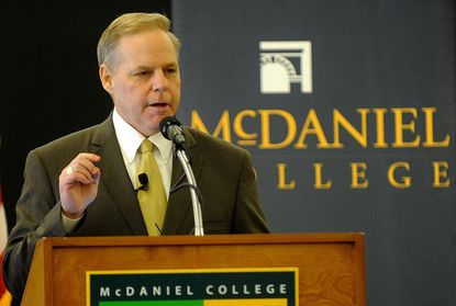 Steven Carr, a Western Maryland College alumnus and current supervisory special agent with the FBI in Baltimore, speaks at McDaniel College in Westminster Saturday.