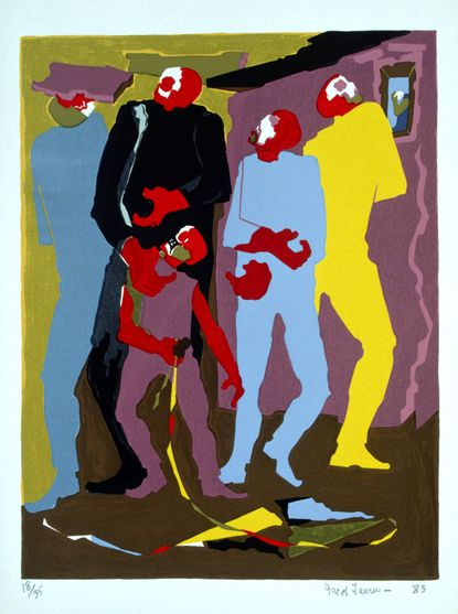 Jacob Lawrence, (1917-2000), Boy with Kite, from the Hiroshima series, 1983, silkscreen. ©Jacob Lawrence, courtesy of Landau Traveling Exhibitions.