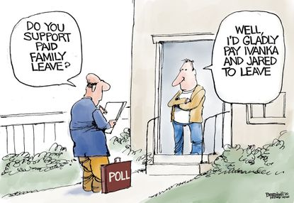 Bill Bramhall's editorial cartoon for Monday, Jan. 6, 2020, as the fight for paid family leave continues.