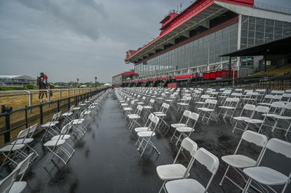 Socially distanced chairs are in place for many of the 10,000 race goers allowed to attend the 146th Preakness Stakes.