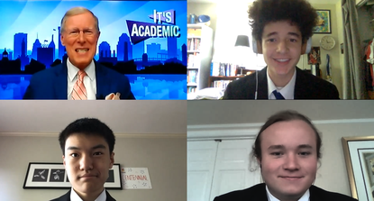 """The Centennial High School team competes during a virtual """"It's Academic"""" contest via Zoom, which will be aired on WJZ TV on Saturday. Clockwise: Host David Zahren, Adam Knox, Anthony Duan and Tobias Moser."""