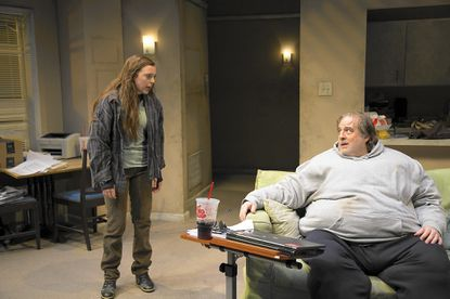 "In ""The Whale,"" 500-pound Charlie (Michael Russotto) gets a stream of visitors to his messy apartment, including his obnoxious teenage daughter Ellie (Jenna Rossman)."