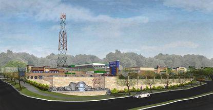A rendering of the proposed Royal Farms complex at the corner of York Road and Bosley Avenue in Towson. The development would occur on the site of the Towson fire station, which is being sold by Baltimore County.