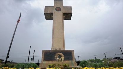 The World War I memorial cross at 4500 Annapolis Road in Bladensburg, Md. The Bladensburg Peace Cross, as the local landmark is known, was dedicated in 1925 as a memorial to Prince George's County's World War I dead.