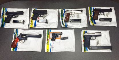 The Baltimore Police Department found these guns during a recent raid on the Safe Streets offices on E. Monument Street in July.