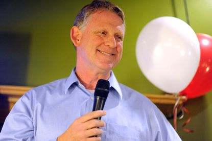 Allan Kittleman, newly elected Howard County Executive, smiles as he addresses his supporters at the Republican candidate party at Chef Paolino Cafe in Ellicott City on Tuesday, November 4.
