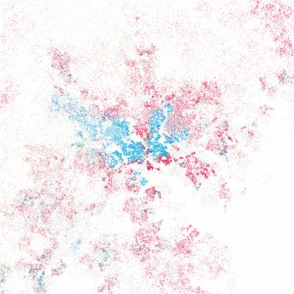 "Baltimore's racial and ethnic concentrations: Red is White, Blue is Black, Green is Asian, Orange is Hispanic, Gray is Other, and each dot is 25 people. <a href=""http://www.trbimg.com/img-5772e73d/turbine/bcpnews-baltimore-s-racial-and-ethnic-concentrations-20160628"" target=""_blank"">View Larger</a>"